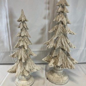 Set of 2 Glistening Snow Trees by Valerie